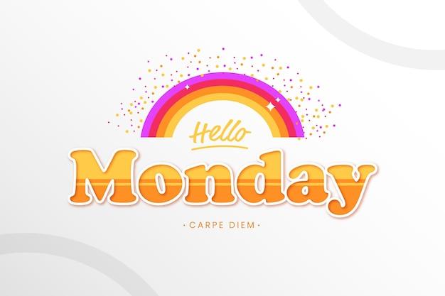 Hola lunes con fondo arcoiris