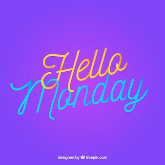 Hola lunes, fondo púrpura