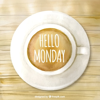 Hola lunes, taza de café