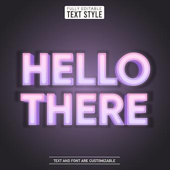 Hola, luz brillante, efecto de texto editable led