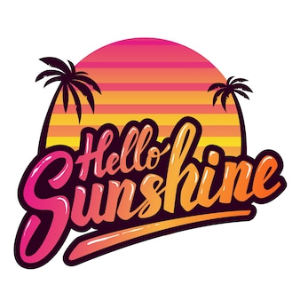 Hola luz de sol. frase dibujada a mano. elemento para cartel, folleto, etiqueta. ilustración