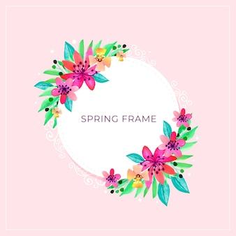Hola marco de primavera con explosión de flores