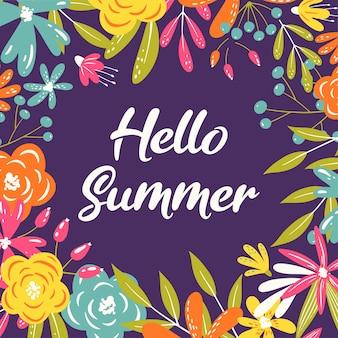 Hola marco de tarjeta de felicitación de verano