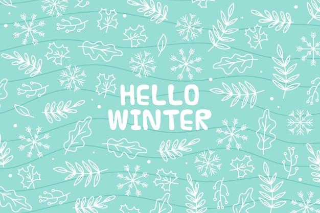 Hola mensaje de invierno sobre fondo ilustrado