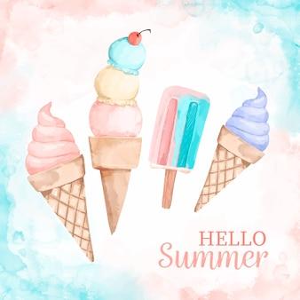 Hola mensaje de verano con ilustración acuarela