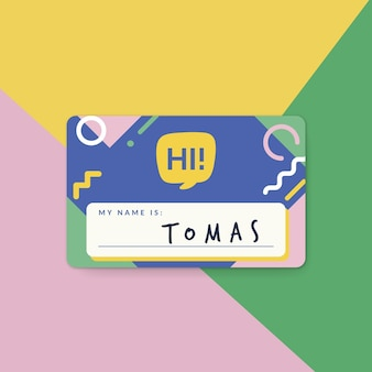 Hola (mi nombre es) diseño de etiqueta