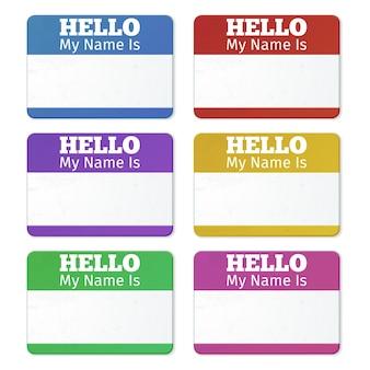 Hola mi nombre es ... tarjetas de presentación, conjunto de etiquetas. etiqueta adhesiva para reunión de fiesta