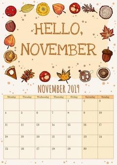 Hola noviembre lindo y acogedor higge 2019 calendario mensual con decoración de otoño