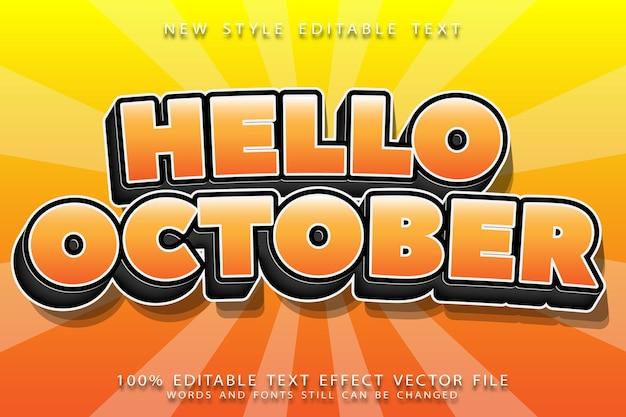 Hola octubre efecto de texto editable en relieve estilo moderno