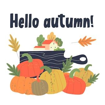 Hola otoño. una casa en el campo y cosecha de calabaza. ilustración vectorial.