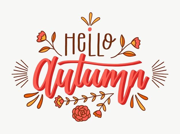 Hola otoño - concepto de letras