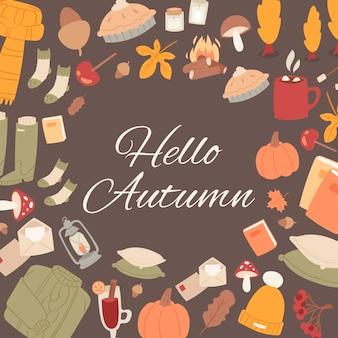 Hola otoño conjunto de otoño lindos objetos.