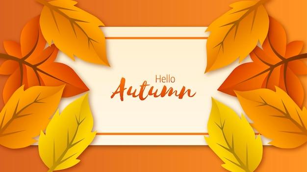 Hola otoño con decoración de hojas para banner publicitario, etc.archivo eps