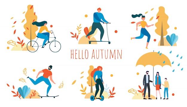 Hola otoño con dibujos animados personas actividad al aire libre