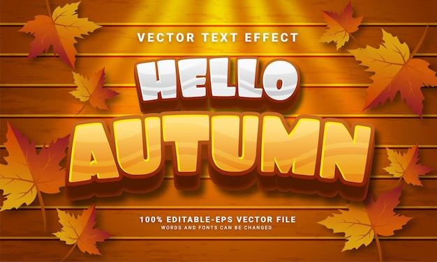 Hola otoño efecto de texto editable 3d adecuado para eventos temáticos de otoño