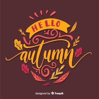 Hola otoño estilo caligráfico de fondo