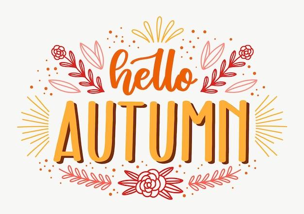 Hola otoño estilo de letras
