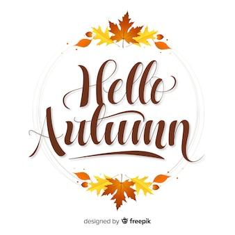 Hola otoño fondo decorativo caligráfico