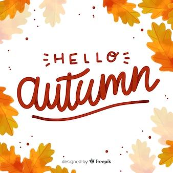 Hola otoño fondo estilo caligráfico