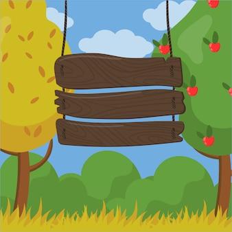 Hola, otoño, gran fiesta, cartel de tablero de madera con detalles de fecha y hora sobre fondo de jardín de otoño ilustración, estilo de dibujos animados