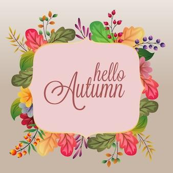 Hola otoño con ilustración de hojas de diferentes colores.