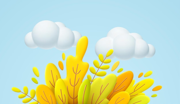 Hola otoño ilustración mínima 3d con hojas otoñales amarillas, naranjas y nubes blancas aisladas sobre fondo azul. fondo de hojas de otoño 3d para el diseño de pancartas de otoño. ilustración de vector eps10