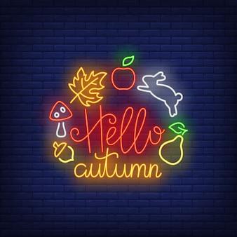 Hola otoño letrero de neón