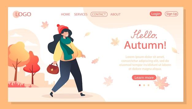 Hola otoño, plantilla de página de destino. mujer camina en el parque otoño