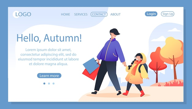 Hola otoño, plantilla de página de destino. padre con hija de la mano, otoño caminar en ropa de abrigo