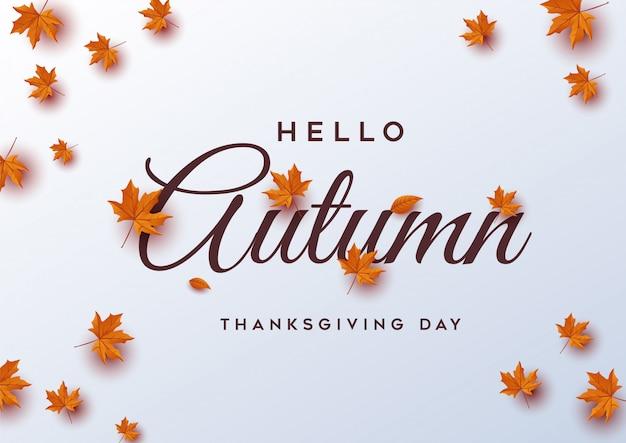 Hola otoño. tarjeta de felicitación del día de acción de gracias