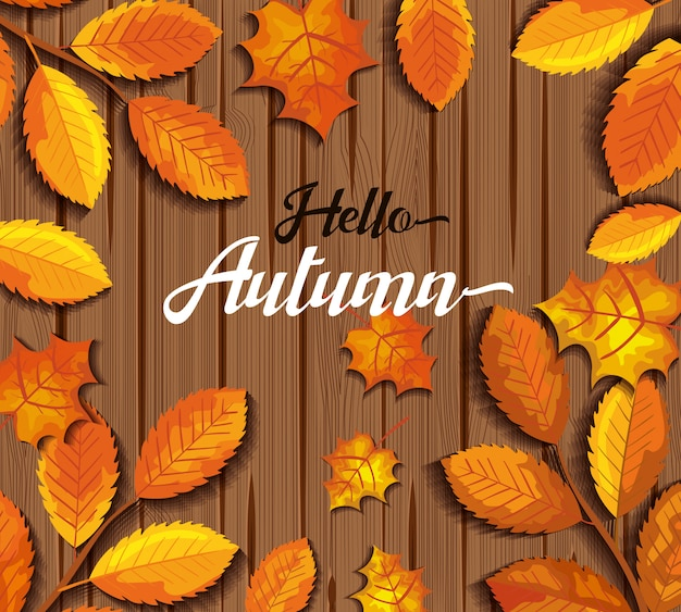 Hola otoño en tarjeta de felicitación de madera