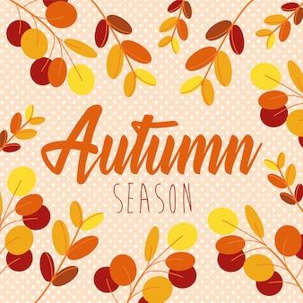 Hola otoño temporada hojas y caligrafía