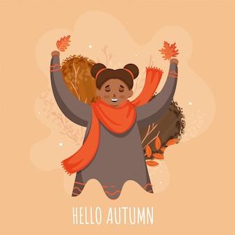 Hola otoño texto con smiley cute girl en pose de salto sobre fondo abstracto melocotón.