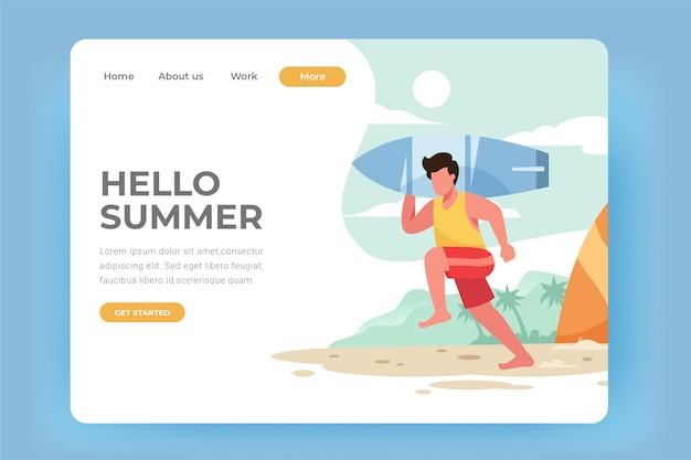 Hola página de aterrizaje de la tabla de surf de verano
