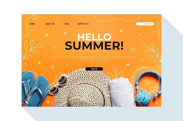 Hola página de aterrizaje de verano con elementos esenciales de playa