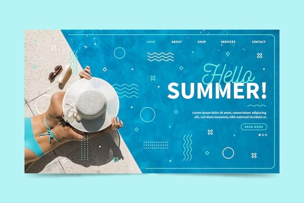 Hola página de aterrizaje de verano con foto