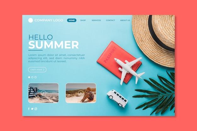 Hola página de aterrizaje de verano con gorro y avión