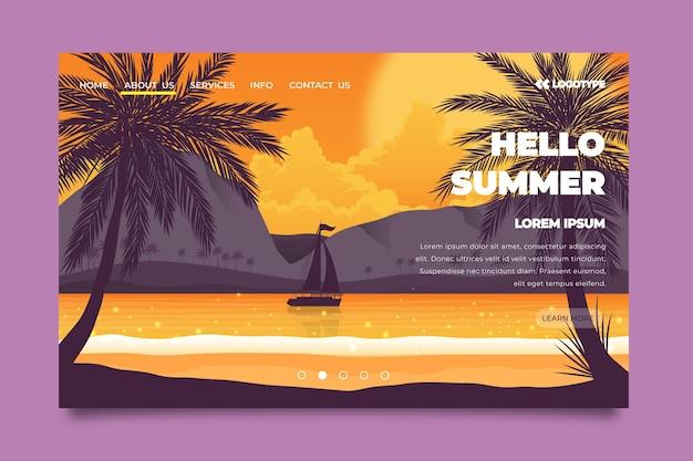 Hola página de aterrizaje de verano con mar y barco