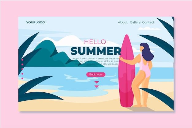 Hola página de aterrizaje de verano con mujer y tabla de surf
