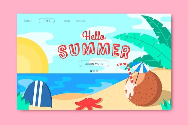 Hola página de aterrizaje de verano con playa y coco