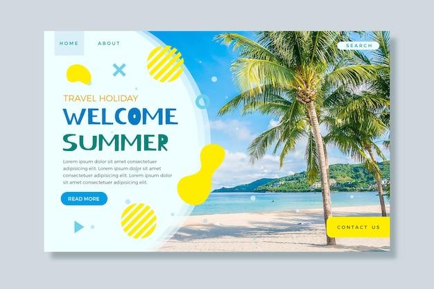 Hola página de aterrizaje de verano con playa y palmeras