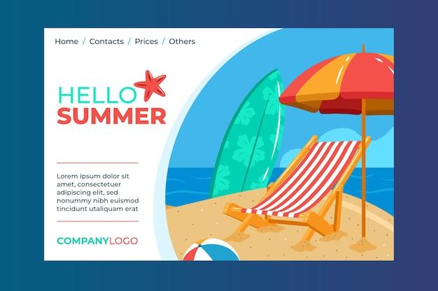 Hola página de aterrizaje de verano con playa y tabla de surf