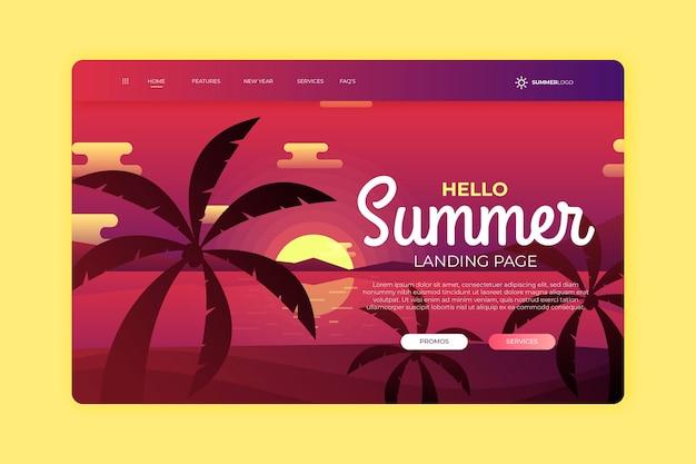 Hola página de aterrizaje de verano con puesta de sol y palmeras