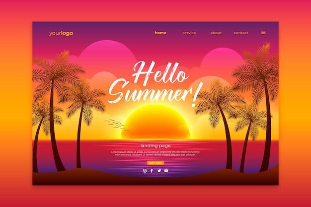 Hola página de aterrizaje de verano con puesta de sol en la playa
