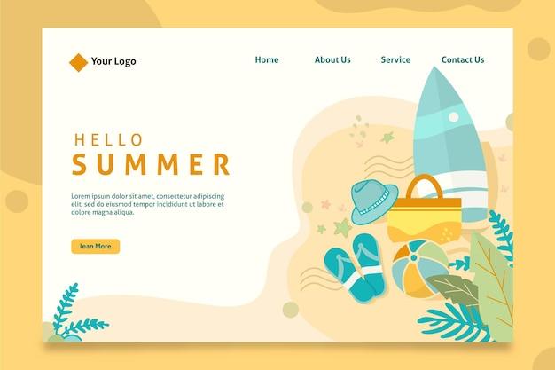 Hola página de aterrizaje de verano con tabla de surf