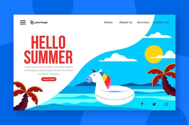 Hola página de aterrizaje de verano con unicornio