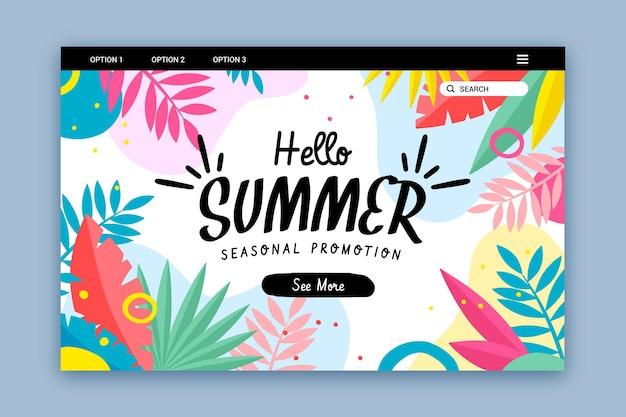Hola página de inicio de verano con hojas coloridas