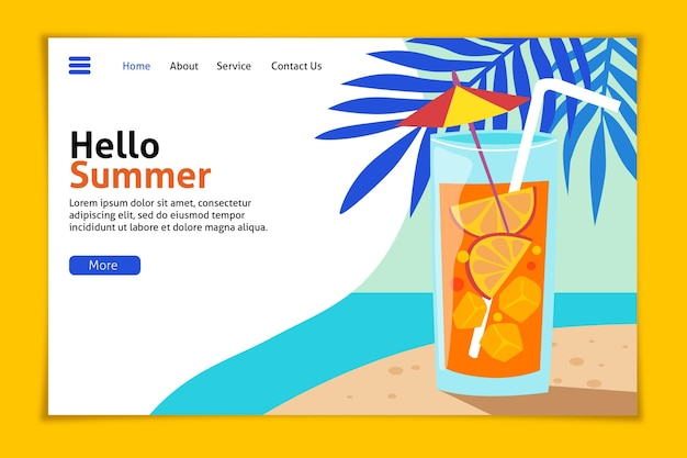 Hola página de inicio de verano con playa y cóctel.
