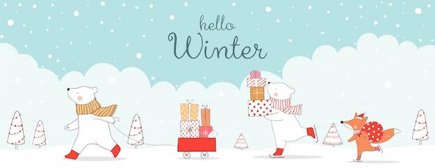 Hola pancarta de invierno
