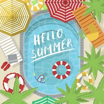 Hola pancarta de verano con piscina de agua